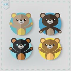 Flat Style teddy bear Vector Icon Set