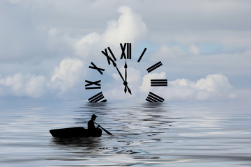 Silhouette of a boat rowing toward a clock.