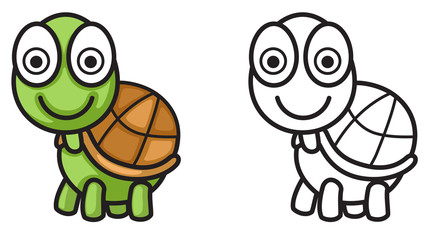colorful and black and white turtle for coloring book