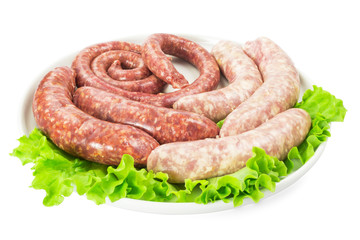 Meat sausages with salad