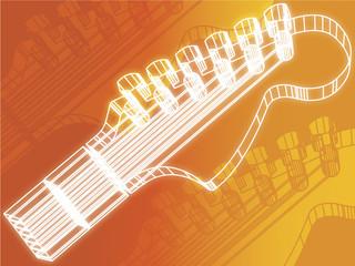 guitar Head  Vector orange  background