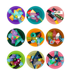 Set of flat design circle infographic icons