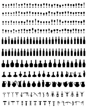 Silhouettes of bottles, glasses and corkscrew, vector