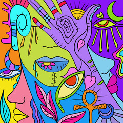 astratto colorato con mani e occhi