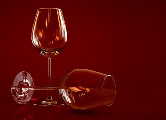 Two empty wine glass