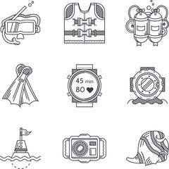 Black line vector icons for diving