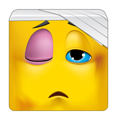 Square emoticon wounded