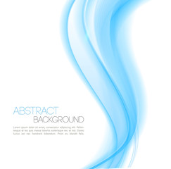 Abstract Blue curved lines background. Wave Template design