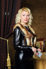 Vintage fashion Senior woman with cigarette case