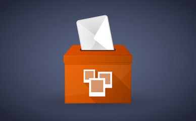 Orange ballot box with photos