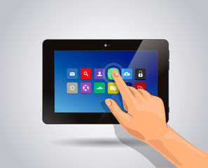 Realistic tablet Isolated with apps icons and touch hand.