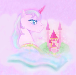 cute unicorn rainbow and fairy-tale princess castle