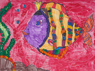 Children drawing of fish