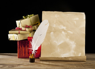 old paper, feather and gifts