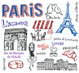 France symbols as funky doodles