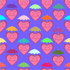 Seamless pattern consisting of cheerful hearts under colorful um
