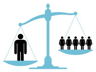 Scale weighing single man versus a group of women