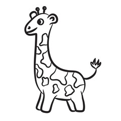 Outlined giraffe vector illustration. Isolated on white.