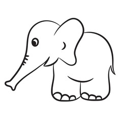 Outlined elephant vector illustration. Isolated on white.