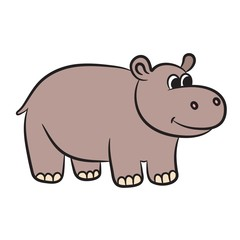 Cartoon hippo. Vector illustration