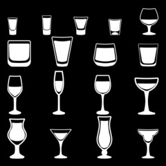 Glass vector silhouette collection