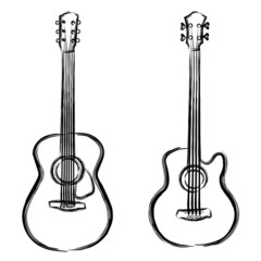 Ink piant acoustic and bass guitar