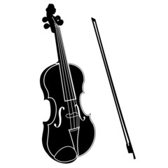 Violin with bow black silhouette illustration