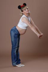 Funny pregnant girl with cartoon ears