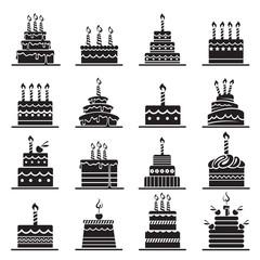 monochrome design of birthday cake set