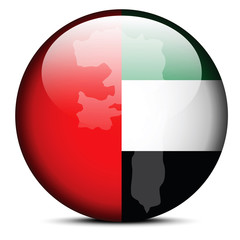 Map on flag button of United Arab Emirates, Fujairah Emirate