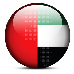 Map with Dot Pattern on flag button of United Arab Emirates, Fuj
