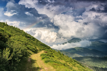 Rainbow after the rain in the Ukrainian Carpathians