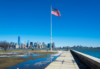 New York Skyline American Flag