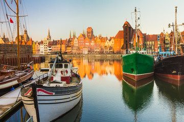 Morning scenery of Gdansk old town in Poland Wall mural