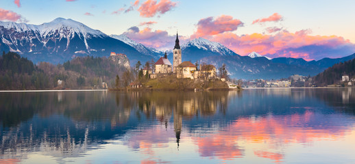 Bled in sunset, Slovenia, Europe.