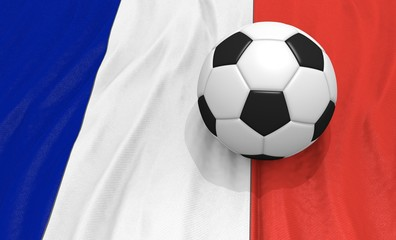 3d illustration of a soccer ball on the flag of France