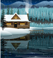Vector winter landscape with mountain lake