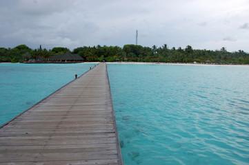 Timber pier at Maldives island