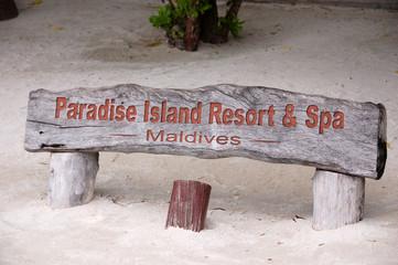 Paradise Island Resort timber name plate