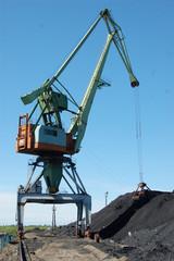 River port cargo crane loading coal