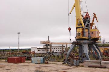 Port cargo crane at Kolyma river