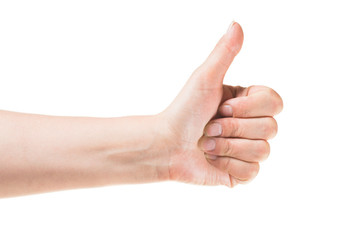 hand holding thumbs up, isolated on white background