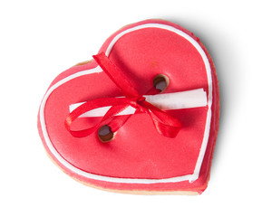Cookies heart with note on top