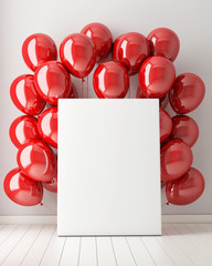 mock up poster in interior background with red balloons