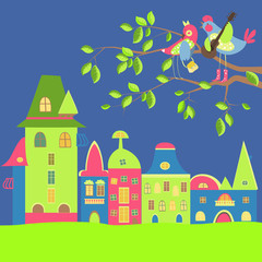 Spring cityscape with birds in love