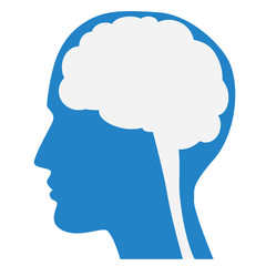 Human brain silhouette with blue face profile.