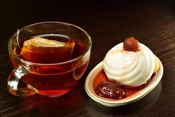 Marshmallow and strawberry jam