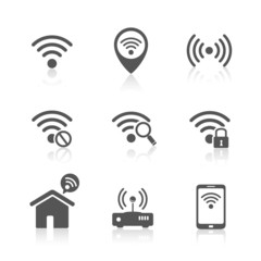 Wireless local network internet access point icons