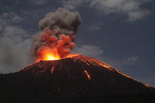 Indonesia, Sumatra, Krakatoa volcano erupting