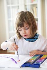Porträt des lächelnden Mädchen, Malerei mit Wasserfarben